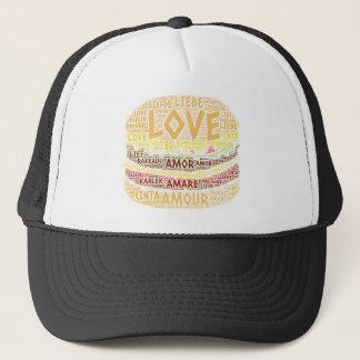 Boné Hamburger ilustrado com palavra do amor