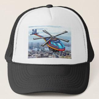 Boné Helicóptero alto do vôo sobre estradas