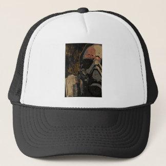 Boné Homem com máscara protetora na placa de metal