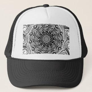 Boné Ilusão óptica do Doodle ornamentado do zen preto e