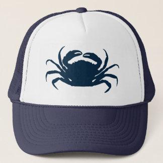 Boné Ilustração azul simples do caranguejo do mar de