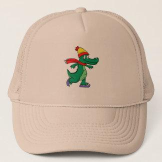 Boné Jacaré que patina com chapéu e lenço