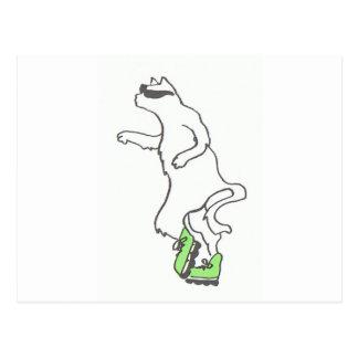 boné legal do verde do rollerblade do gato cartão postal