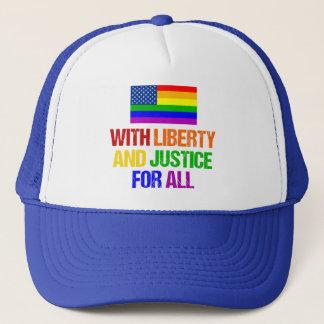 Boné Liberdade e justiça da bandeira americana de LGBT