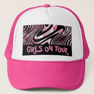 Boné Listra Shimmery preta cor-de-rosa da zebra