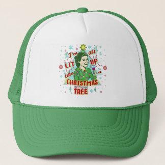 Boné Lit retro da mulher do humor do bebendo do Natal