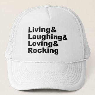 Boné Living&Laughing&Loving&ROCKING (preto)