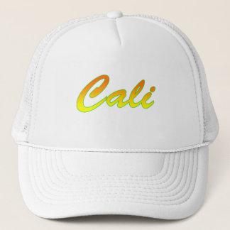 Boné Logotipo amarelo alaranjado do texto de Cali