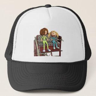 Boné Mãe e filha dos desenhos animados em uma roda de