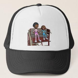 Boné Mãe e filho dos desenhos animados em uma roda de
