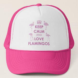 Boné Mantenha a calma e ame o chapéu dos flamingos
