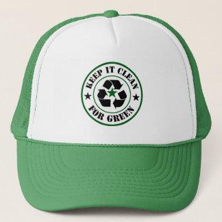 Boné Mantenha limpo para o logotipo verde