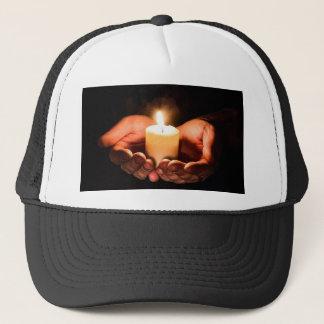 Boné Mãos e cristão abstratos do ministério da vela