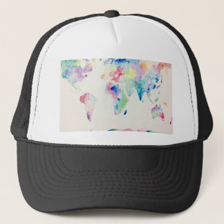 Boné mapa do mundo da cor de água