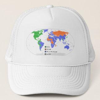 Boné Mapa do mundo da tevê do AMIGO NTSC SECAM