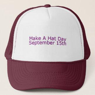 Boné Marrom & branco faça um chapéu do dia do chapéu