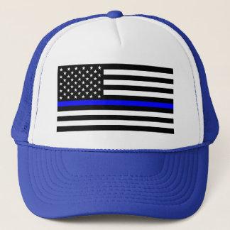 Boné Matéria azul das vidas - a polícia da bandeira dos