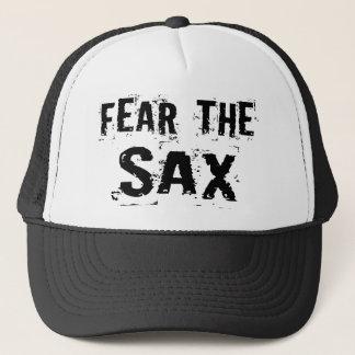 Boné Medo engraçado o chapéu do saxofone