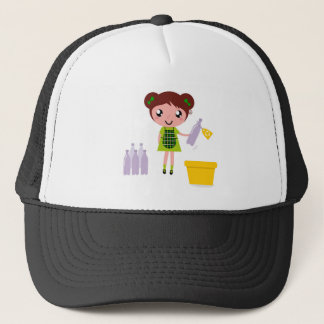 Boné Menina artística pequena com garrafa