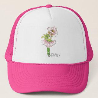 Boné Menina bonito engraçada floral da flor cor-de-rosa