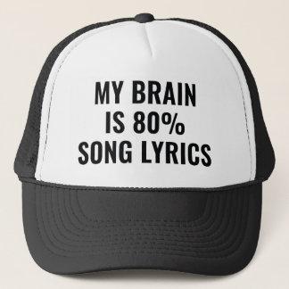 Boné Meu cérebro é poemas líricos de uma canção de 80