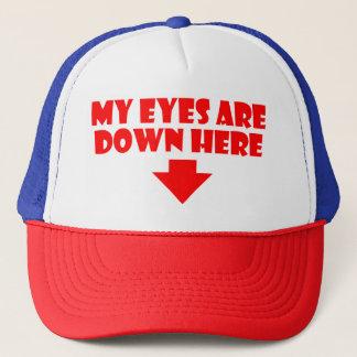 Boné Meus olhos estão abaixo aqui do chapéu