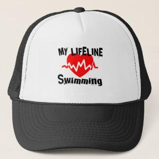 Boné Minha linha de vida natação ostenta o design