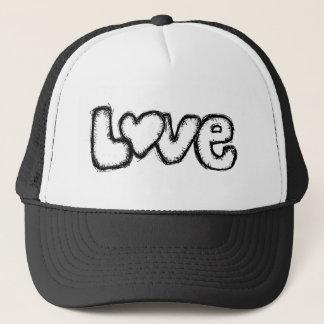 Boné moderno simples branco do preto do doodle do amor