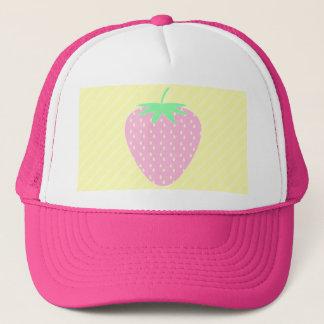 Boné Morango cor-de-rosa bonito em listras amarelas