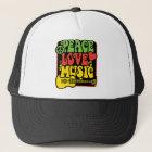 Boné Música do amor da paz de Rasta