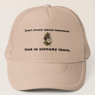 Boné Não preocupe a cruz da flor do chapéu w/Blue do
