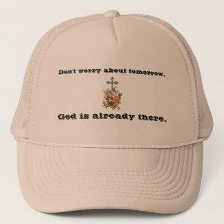 Boné Não preocupe a cruz da flor do chapéu w/Pink do