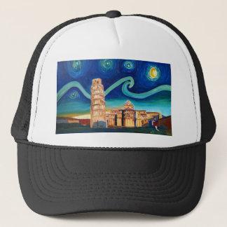 Boné Noite estrelado em Pisa com torre inclinada