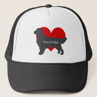 Boné O amor da silhueta do cão do golden retriever é