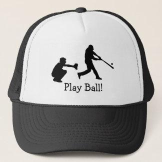 Boné O basebol preto e branco da bola do jogo ostenta o