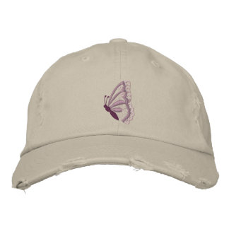 Boné O chapéu borboleta roxa das mulheres bordadas