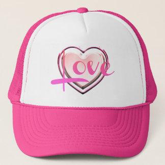 Boné O chapéu do camionista cor-de-rosa do coração do