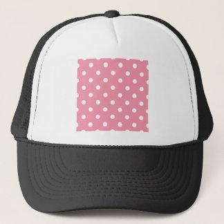 Boné O design pontilha o branco no doce cor-de-rosa