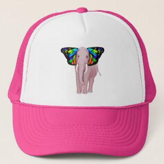 Boné O elefante cor-de-rosa psicadélico com orelhas da