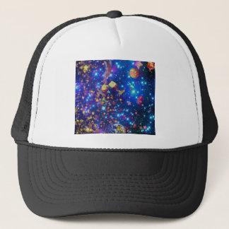 Boné O universo e os planetas comemoram a vida com um