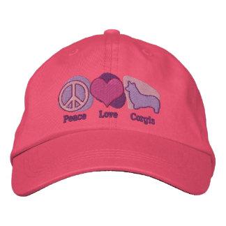 Boné Os Corgis do amor da paz bordaram o chapéu (rosa &