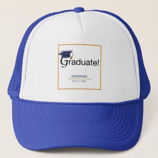 Boné Os parabéns graduam-se, chapéu, borla, azul, ouro