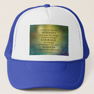 Boné Ouro da oração da serenidade em azul esverdeado