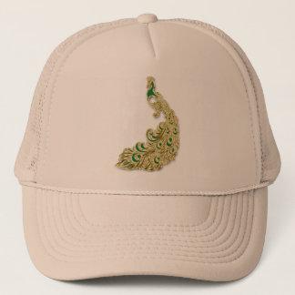 Boné Ouro e pavão verde que cintilam brilhantemente