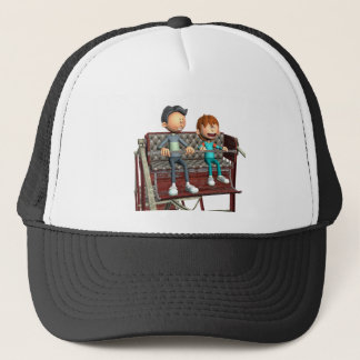 Boné Pai e filho dos desenhos animados em uma roda de