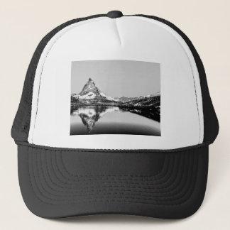 Boné Paisagem preto e branco da montanha de Matterhorn
