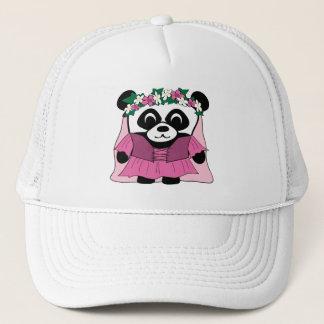 Boné Panda da menina no vestido cor-de-rosa do