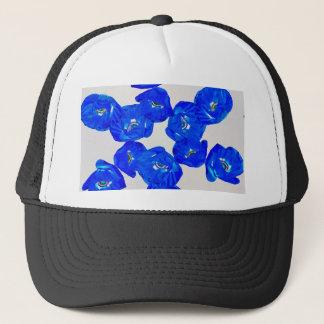 Boné papoilas azuis
