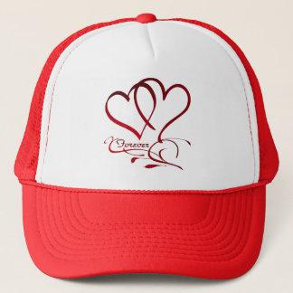 Boné Para sempre corações vermelhos no branco