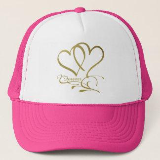 Boné Para sempre ouro dos corações no branco